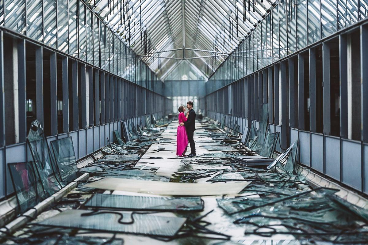 creative abandoned building wedding session elopement 006 - Abandoned Building Wedding Session